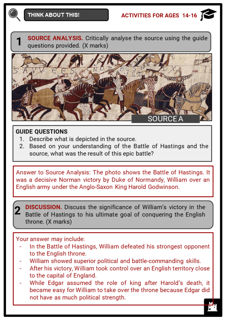 Battle of Hastings Student Activities & Answer Guide 4