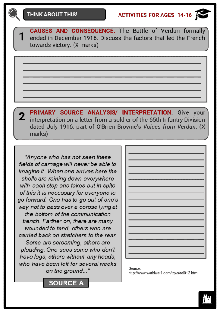 Battle of Verdun Student Activities & Answer Guide 3