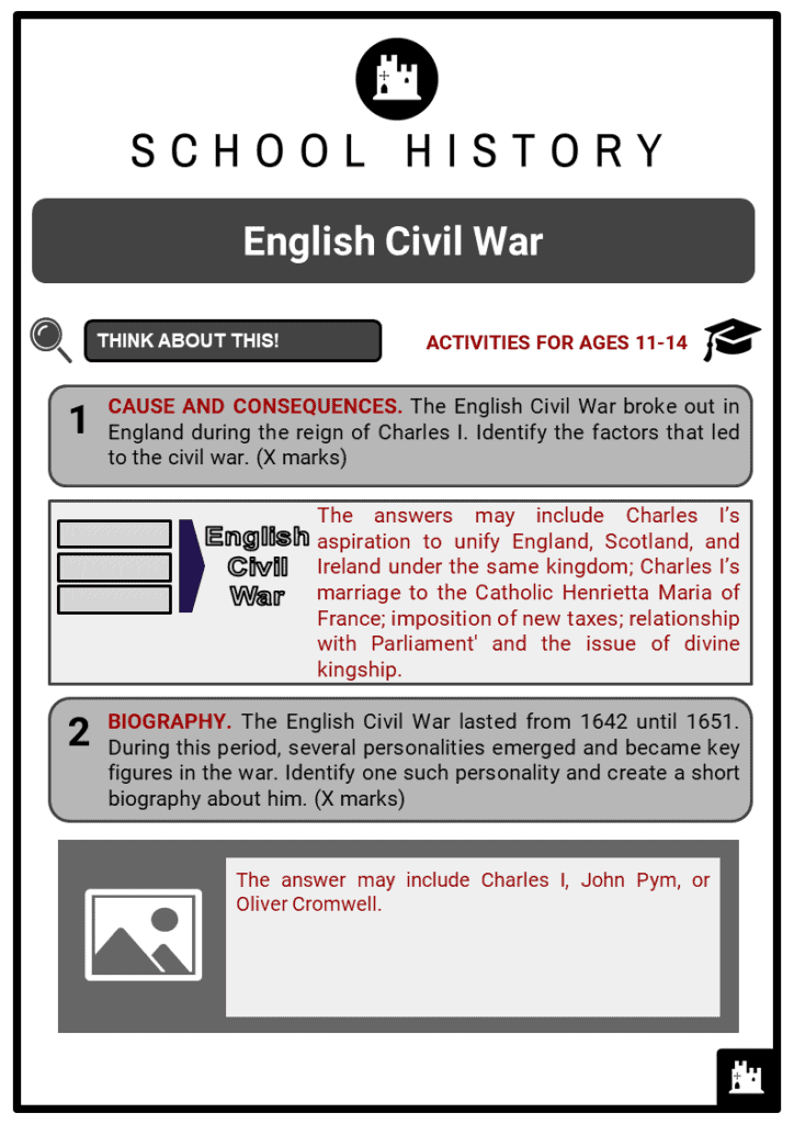 English Civil War Student Activities & Answer Guide 2