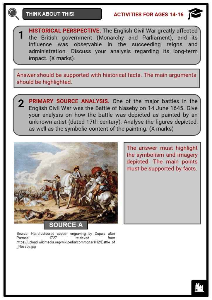 English Civil War Student Activities & Answer Guide 4