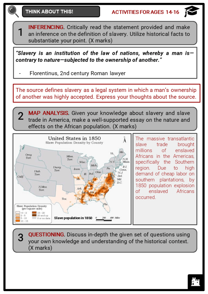 History of Slavery Student Activities & Answer Guide 4