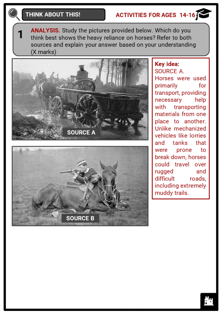 Horses in World War I Student Activities & Answer Guide 4