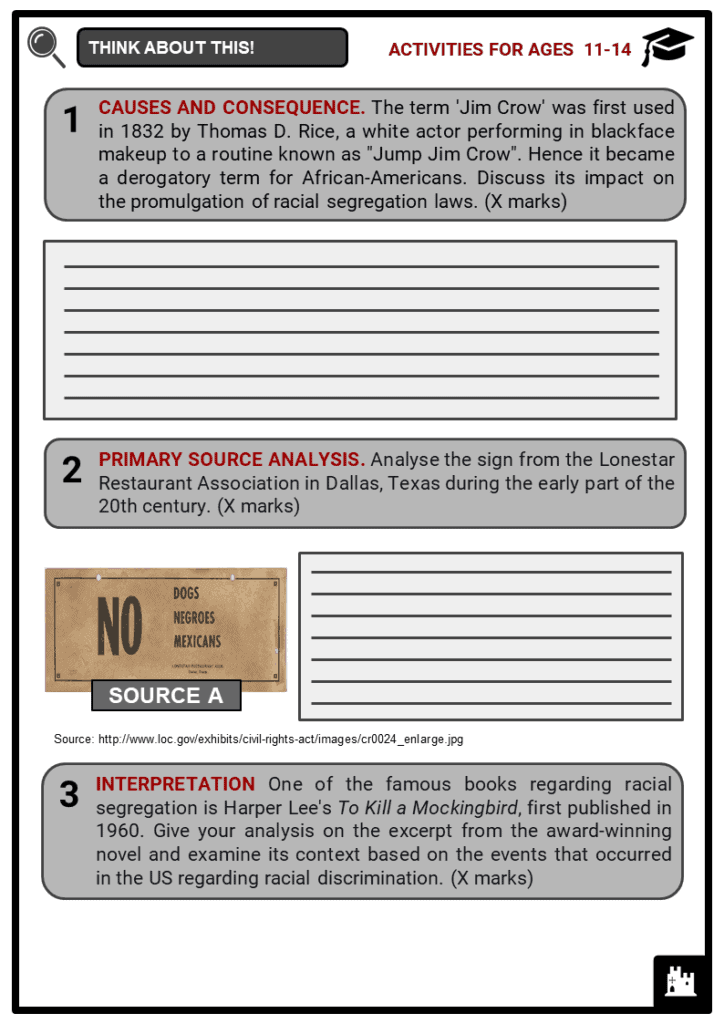 Jim Crow Era Student Activities & Answer Guide 1