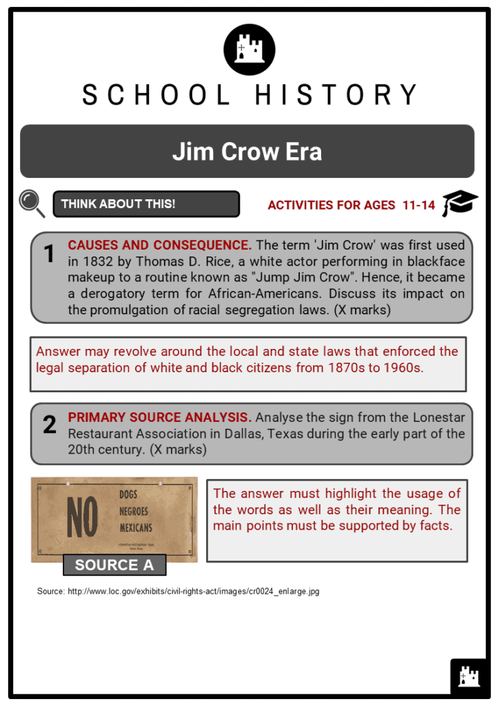 Jim Crow Era Student Activities & Answer Guide 2