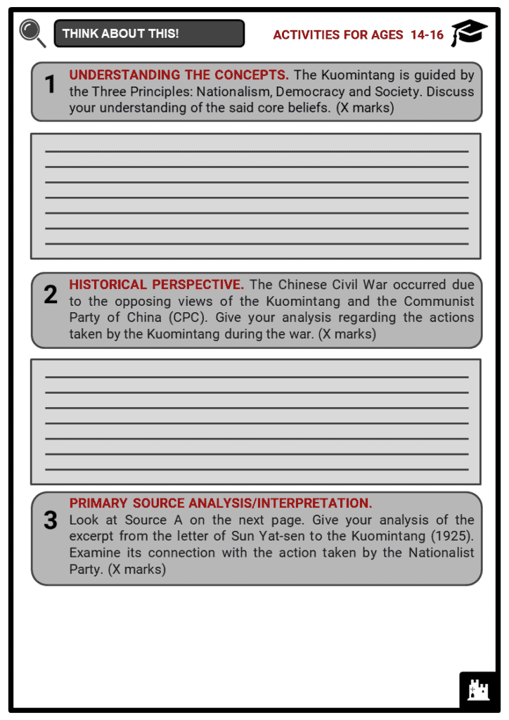 Kuomintang (KMT), the Chinese Nationalist Party (CNP) Student Activities & Answer Guide 3