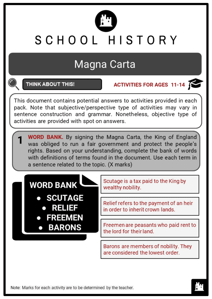 Magna Carta Student Activities & Answer Guide 2