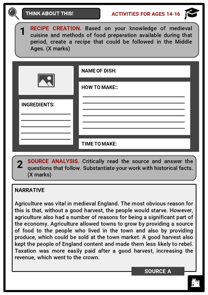 Medieval Food and Drink Student Activities & Answer Guide 3