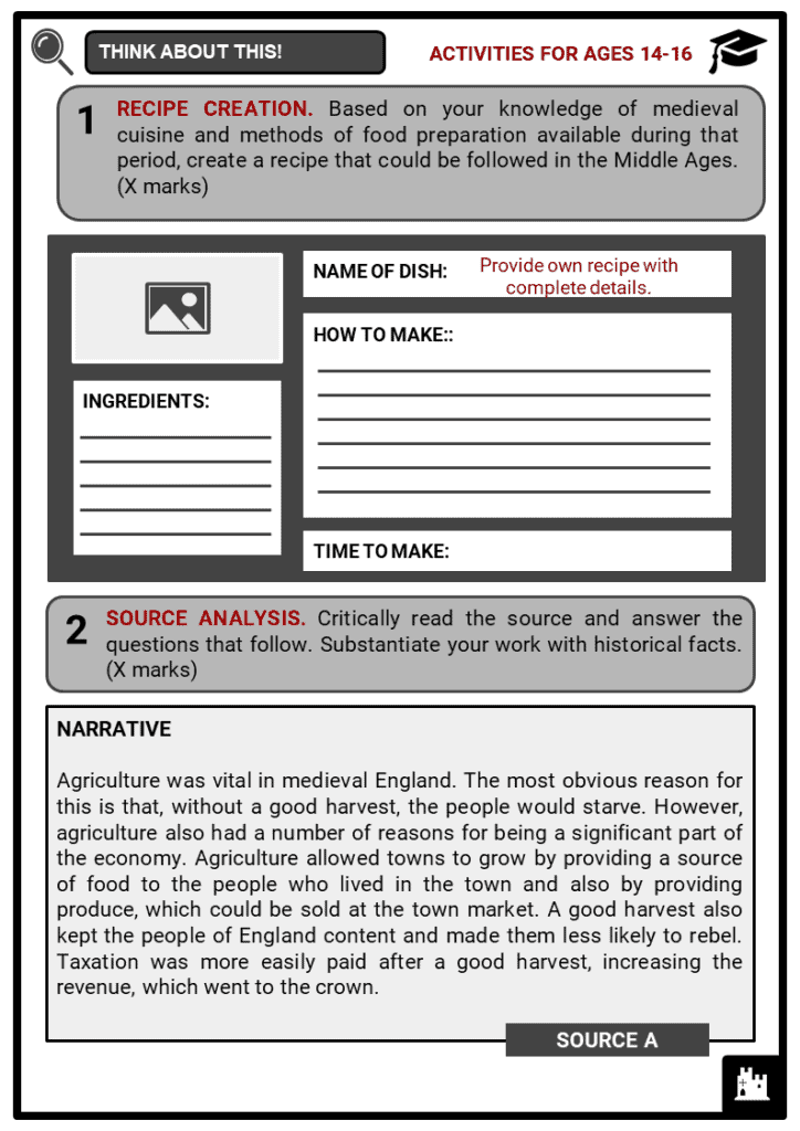 Medieval Food and Drink Student Activities & Answer Guide 4