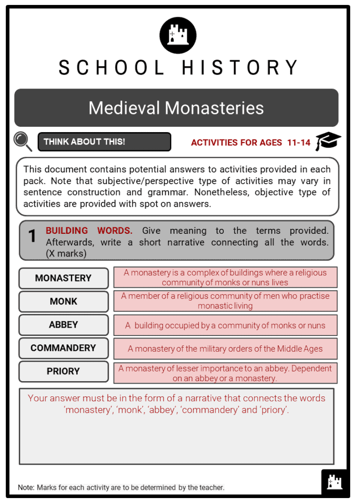 Medieval Monasteries Student Activities & Answer Guide 2