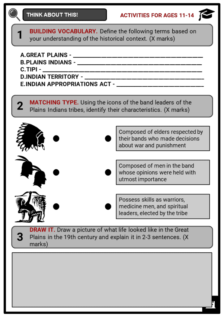 Plains Indians Way of Life Student Activities & Answer Guide 1