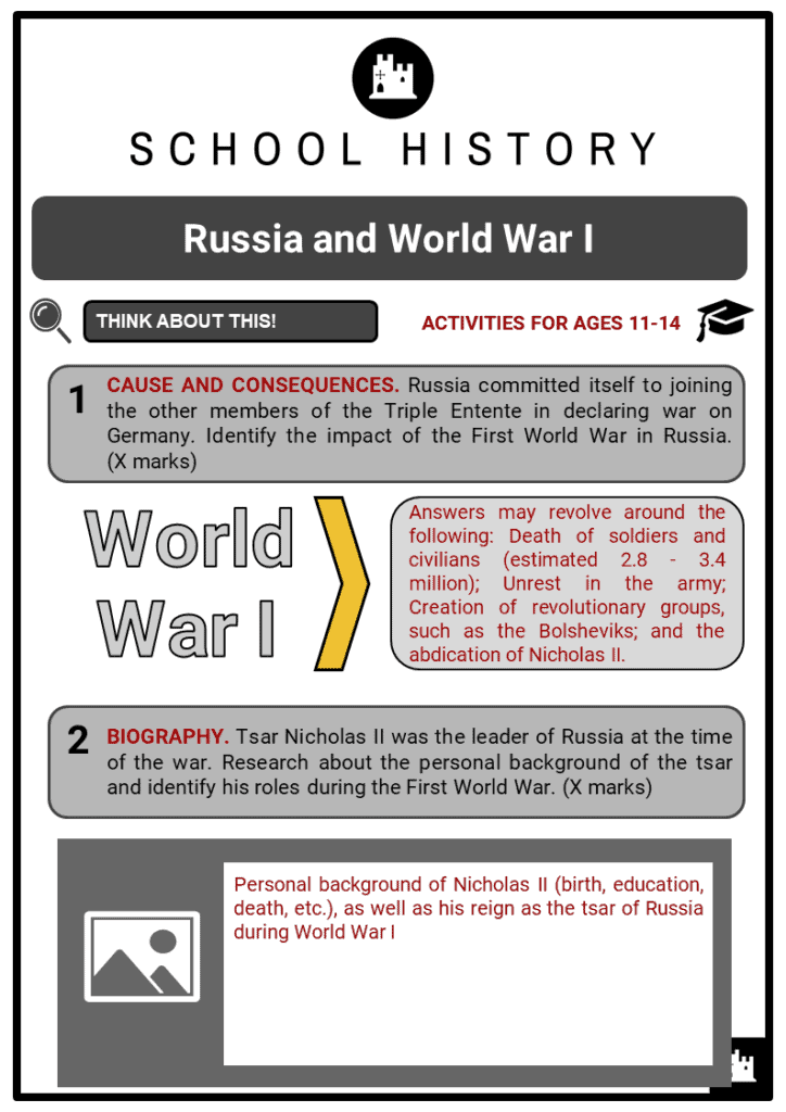 Russia and World War I Student Activities & Answer Guide 2
