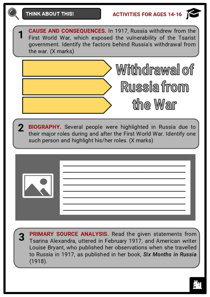 Russia and World War I Student Activities & Answer Guide 3
