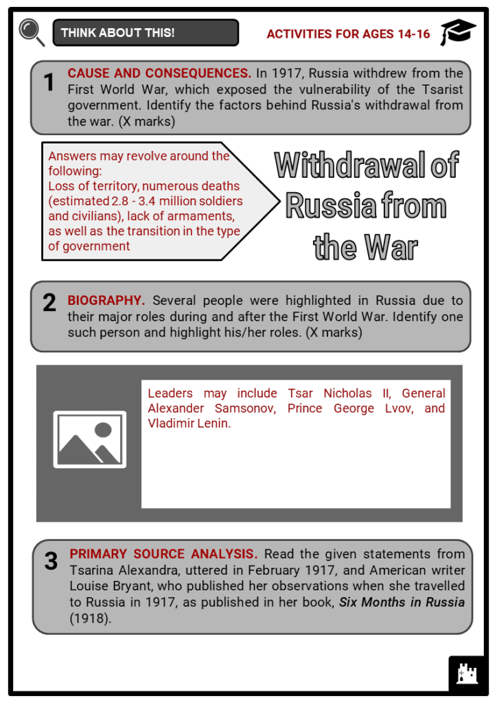 Russia and World War I Student Activities & Answer Guide 4