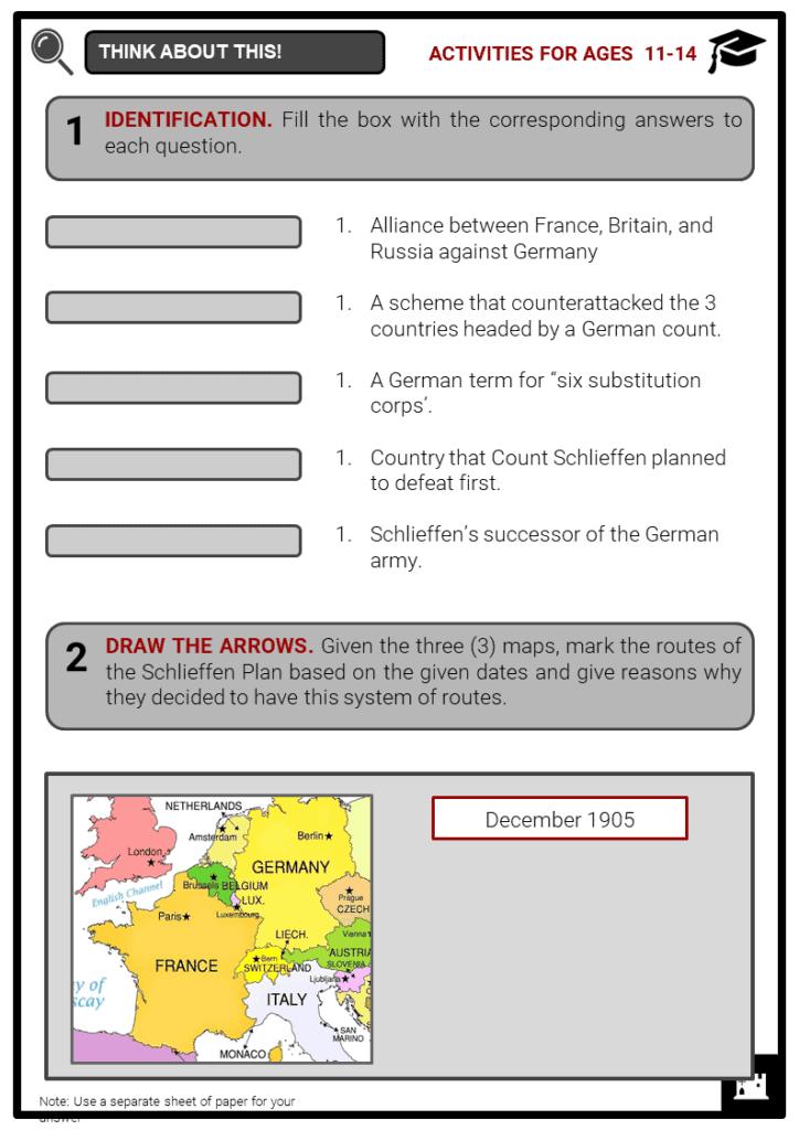 Schlieffen Plan Student Activities & Answer Guide 1