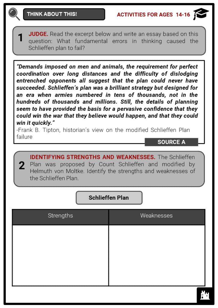 Schlieffen Plan Student Activities & Answer Guide 3
