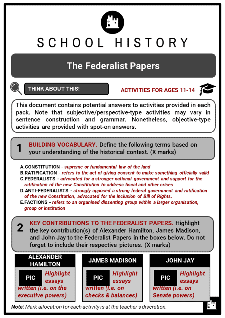 The Federalist Papers Student Activities & Answer Guide 2