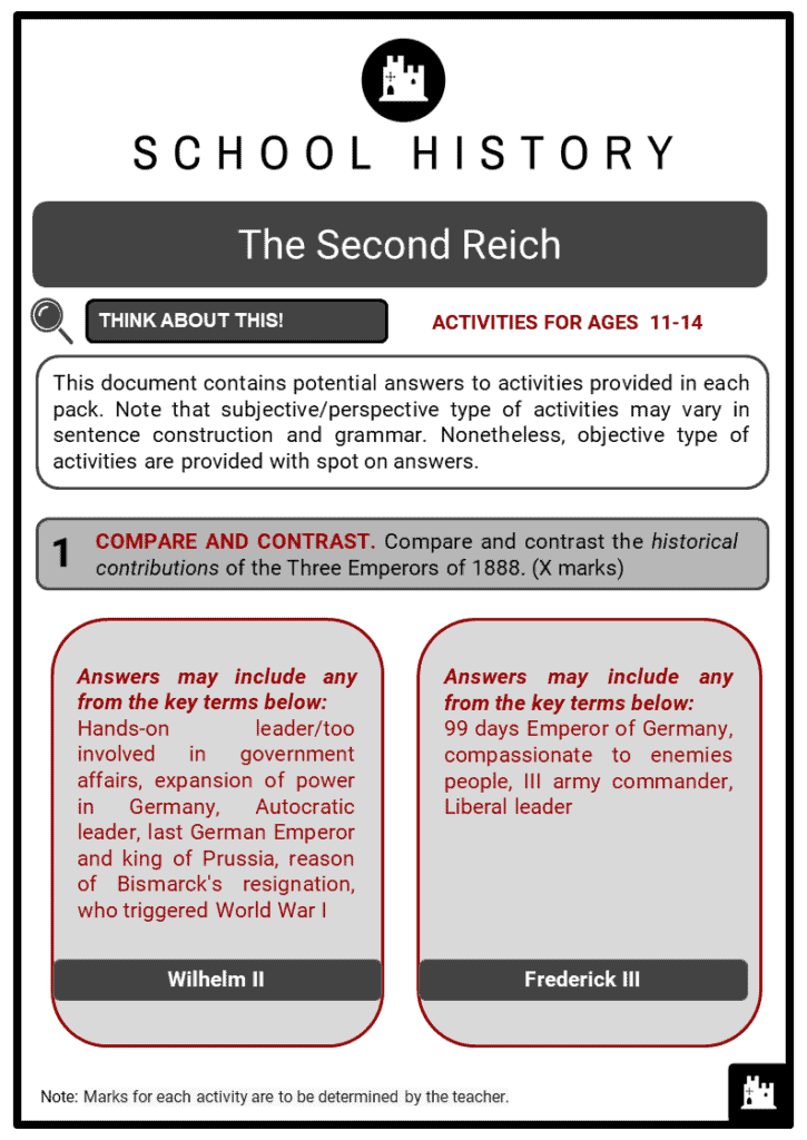 The Second Reich Student Activities & Answer Guide 2