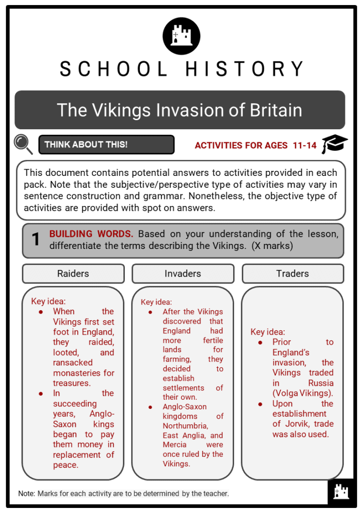 The Vikings invasion of Britain Student Activities & Answer Guide 2