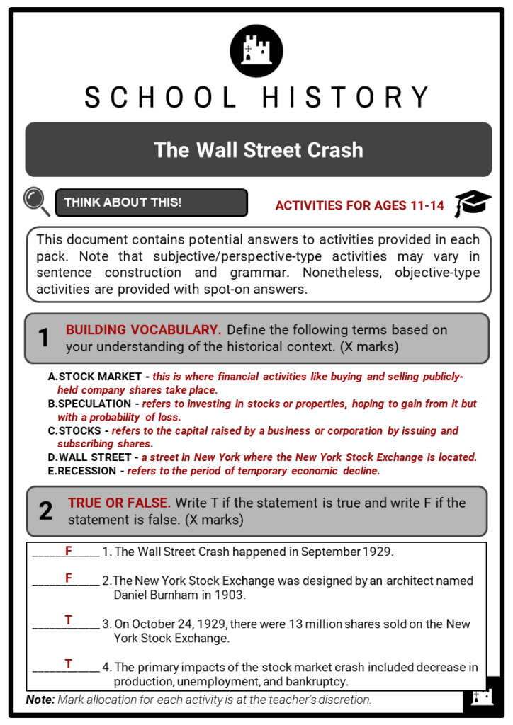 The Wall Street Crash Student Activities & Answer Guide 2