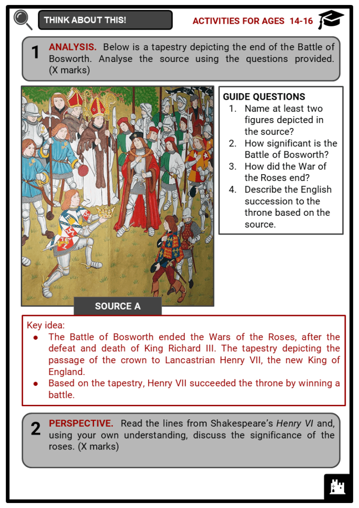 Wars of the Roses Student Activities & Answer Guide 4