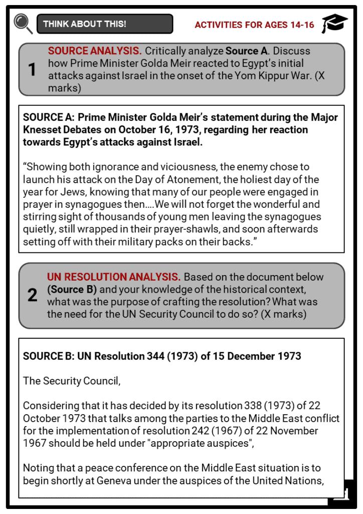 Yom Kippur War Student Activities & Answer Guide 3