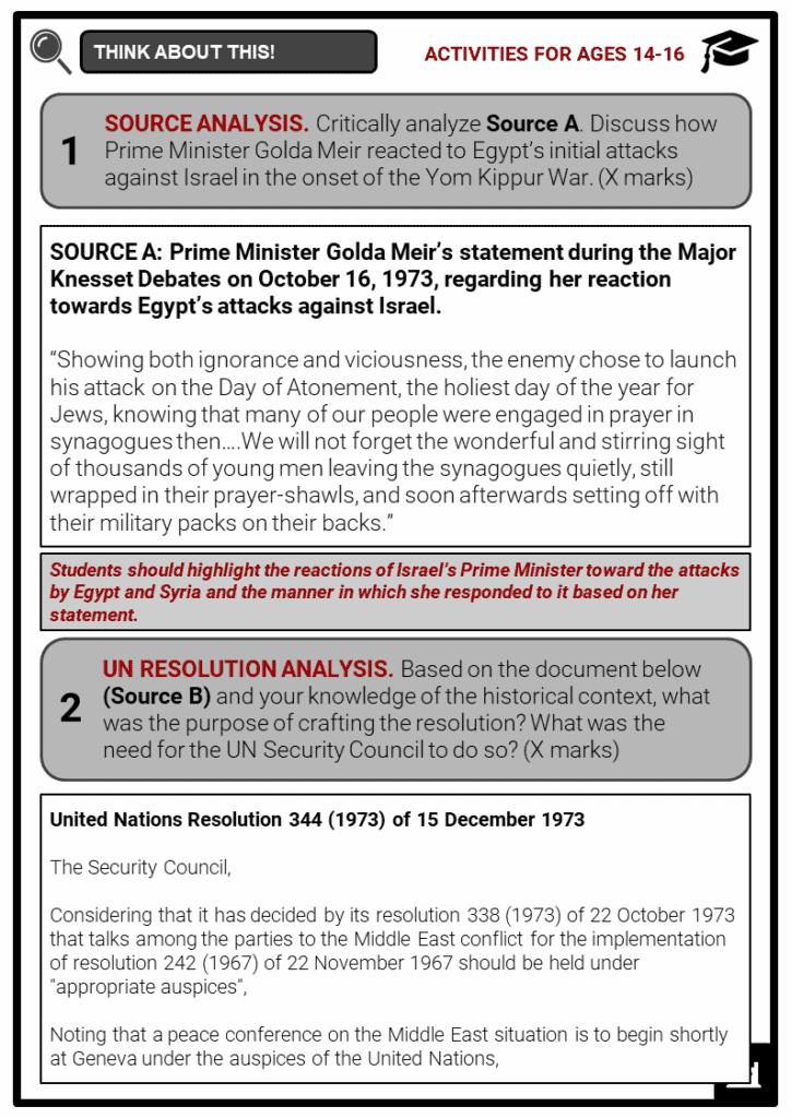 Yom Kippur War Student Activities & Answer Guide 4