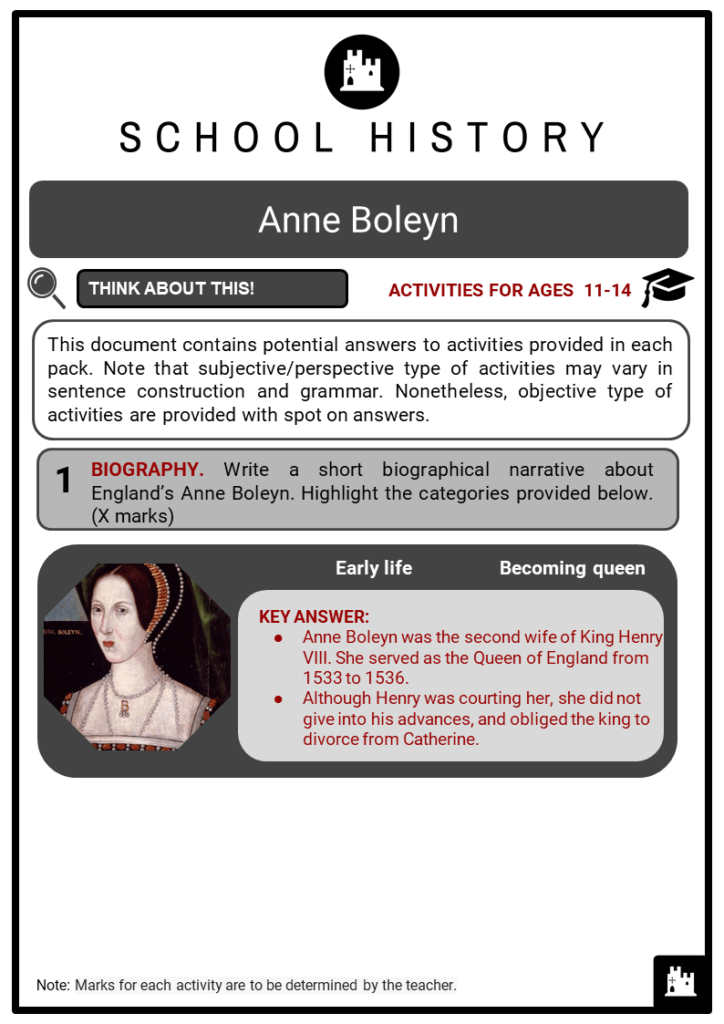 Anne Boleyn Student Activities & Answer Guide 2