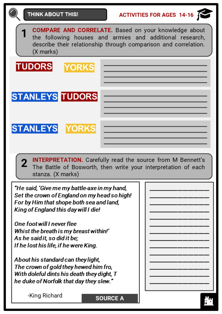 Battle of Bosworth Student Activities & Answer Guide 3