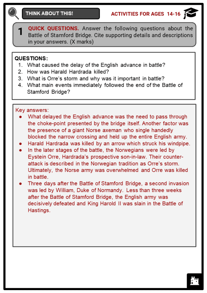 Battle of Stamford Bridge Student Activities & Answer Guide 4