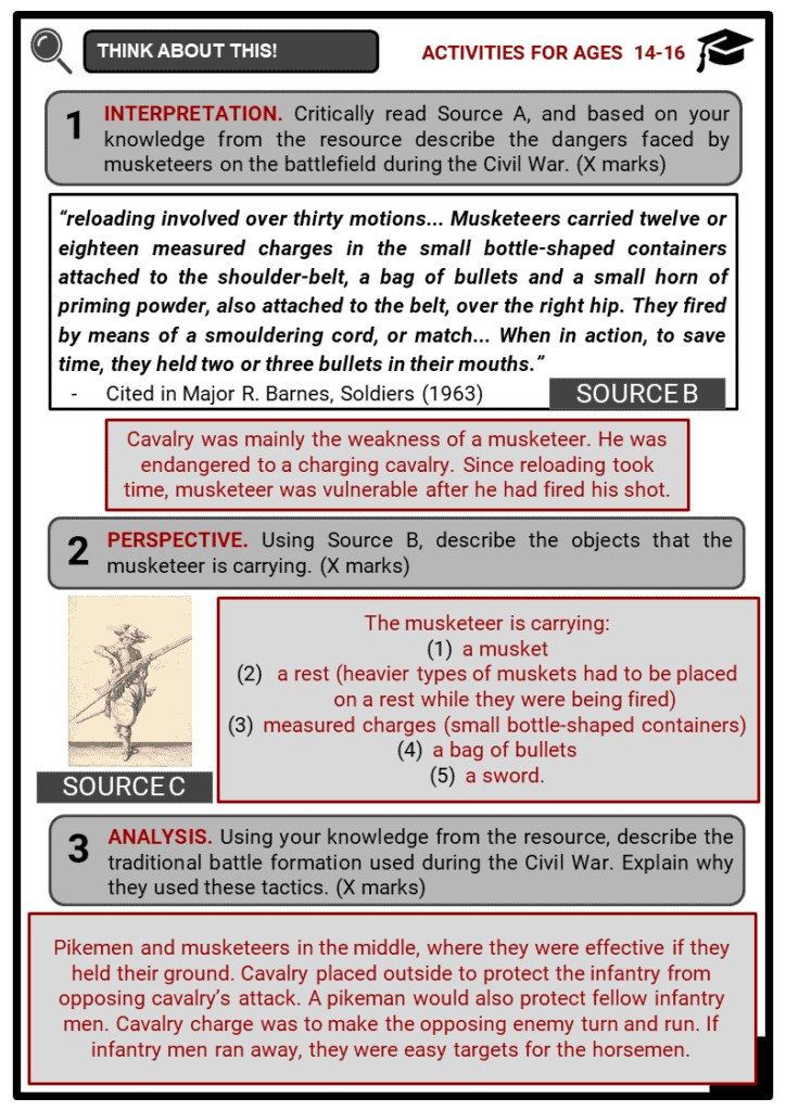 English Civil War Soldiers Student Activities & Answer Guide 4