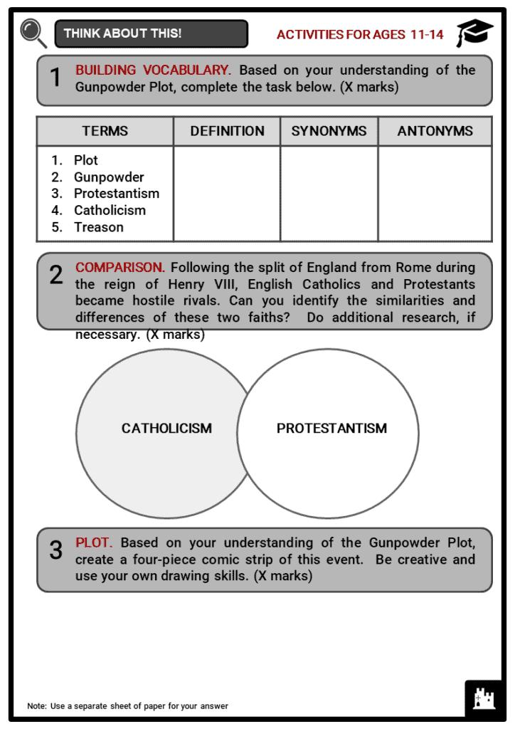 Gunpowder Plot Student Activities & Answer Guide 1