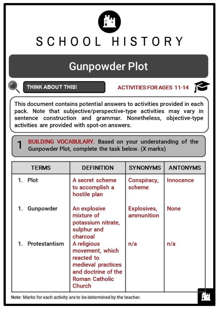 Gunpowder Plot Student Activities & Answer Guide 2