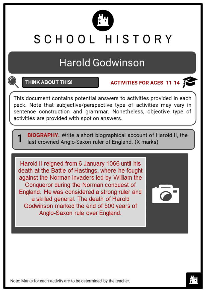 Harold Godwinson Student Activities & Answer Guide 2