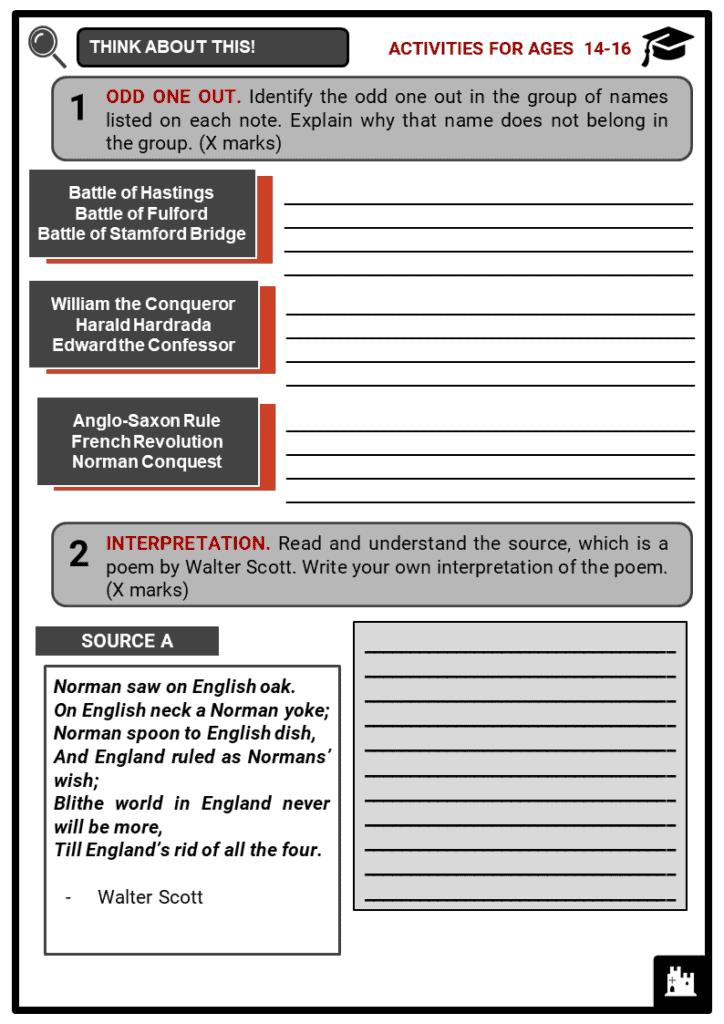 Harold Godwinson Student Activities & Answer Guide 3