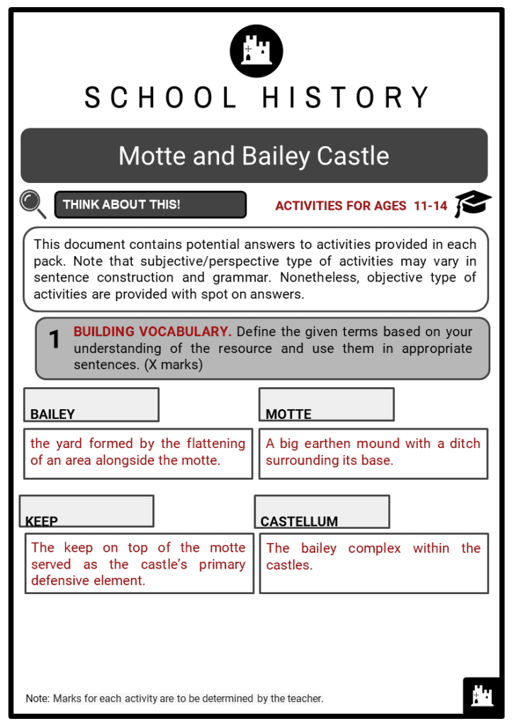 Motte and Bailey Castle Student Activities & Answer Guide 2