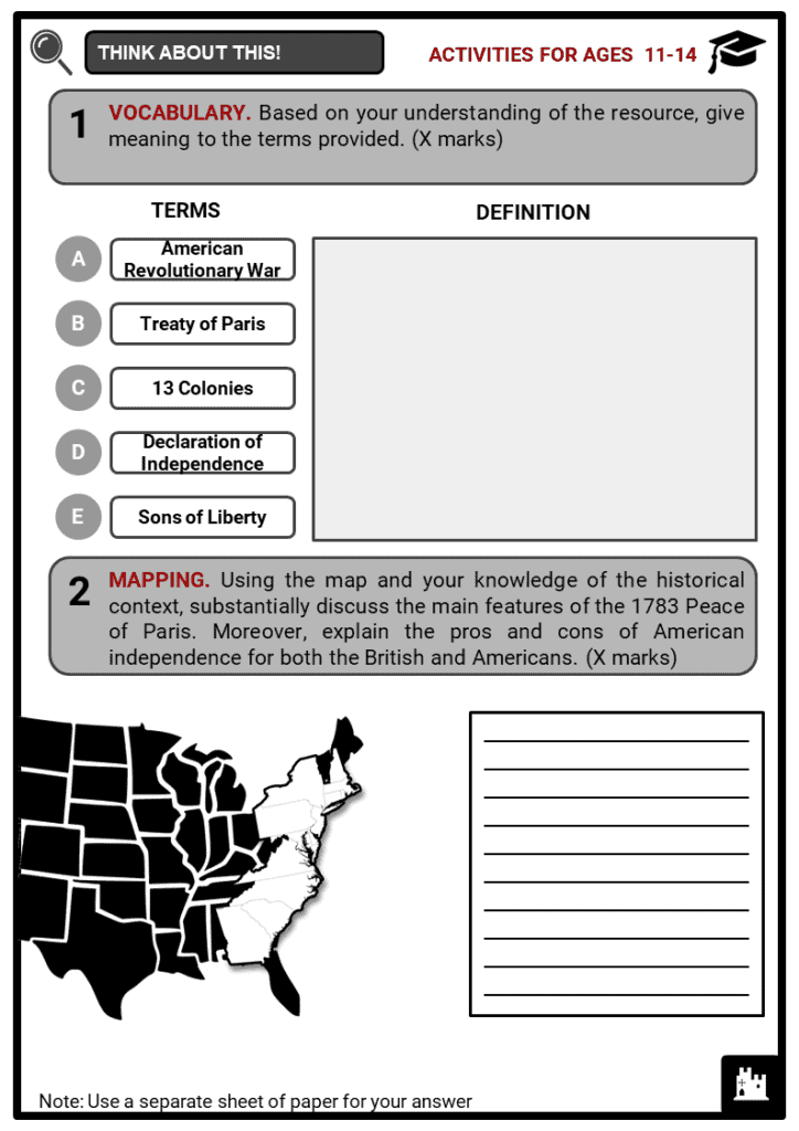 The American War of Independence Student Activities & Answer Guide 1