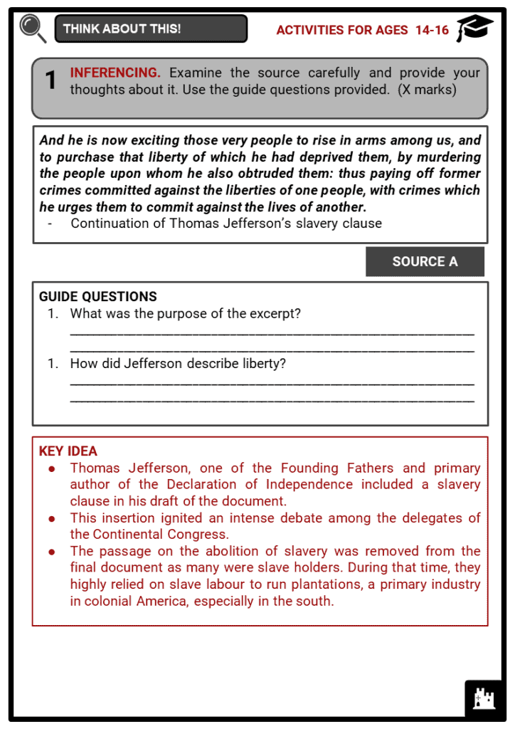 The American War of Independence Student Activities & Answer Guide 4