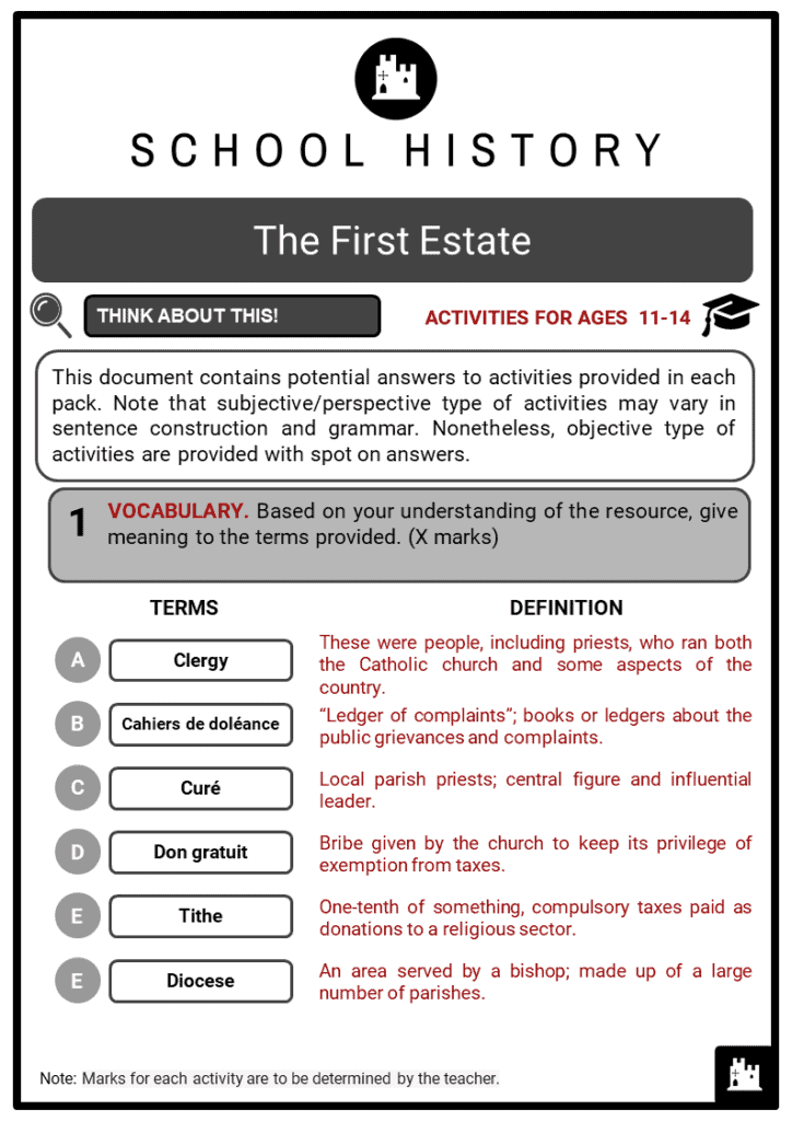 The First Estate Student Activities & Answer Guide 2
