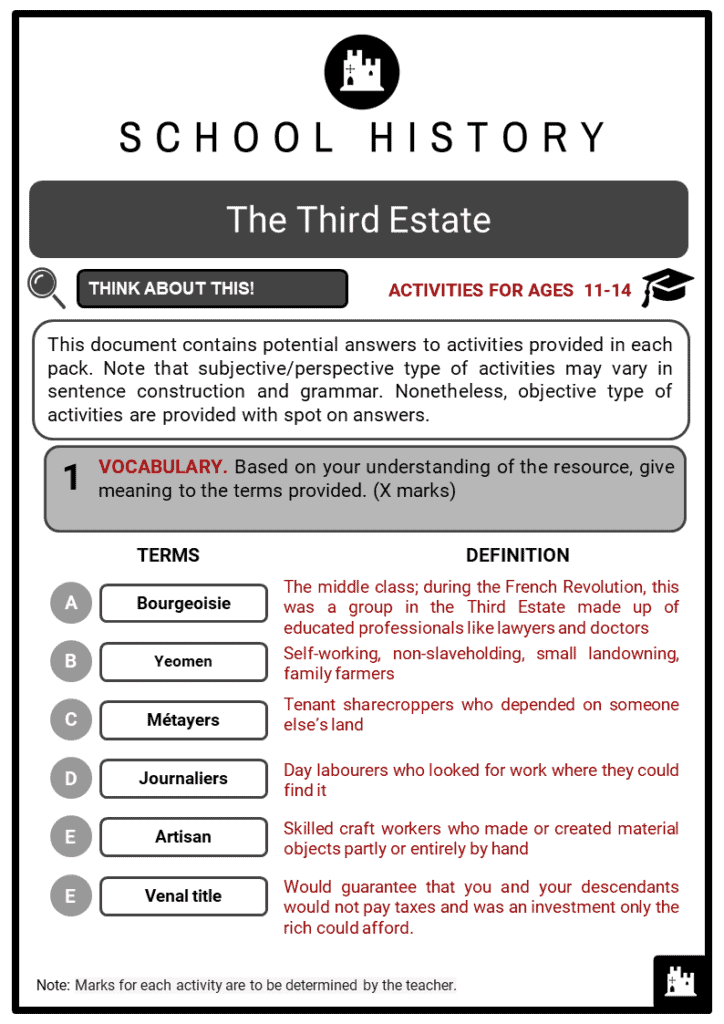 The Third Estate Student Activities & Answer Guide 2