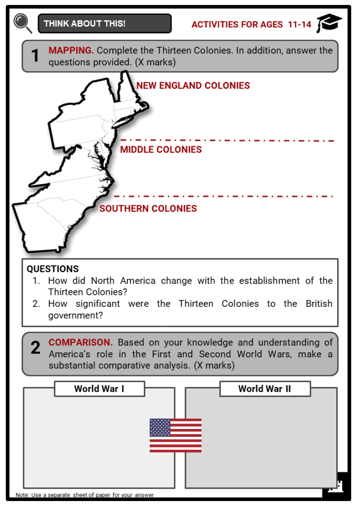 Timeline of the American History Student Activities & Answer Guide 1