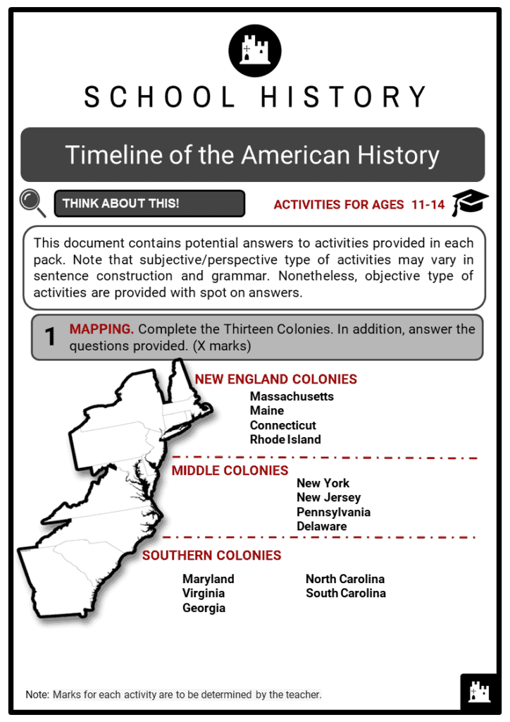 Timeline of the American History Student Activities & Answer Guide 2