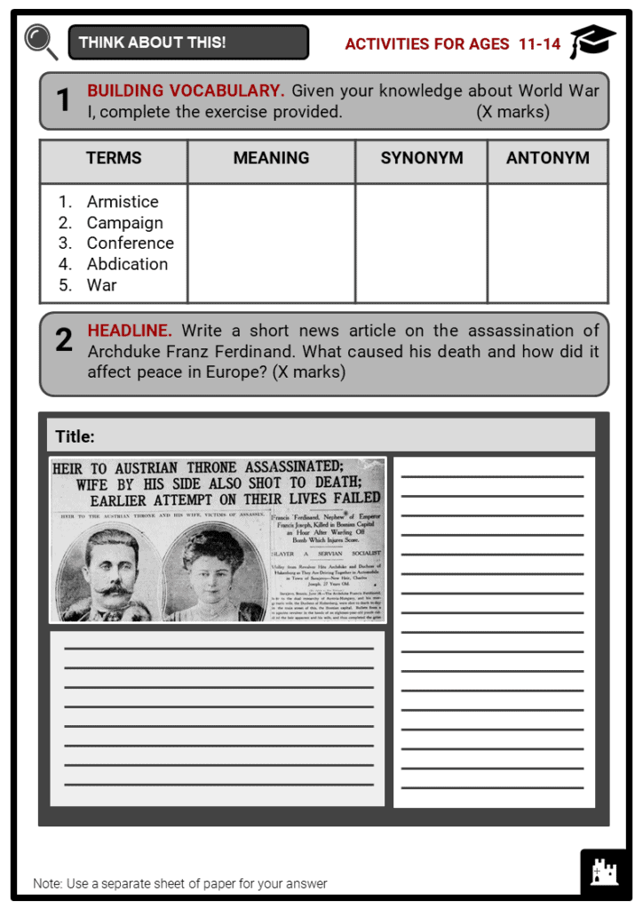 World War I Timeline Student Activities & Answer Guide 1