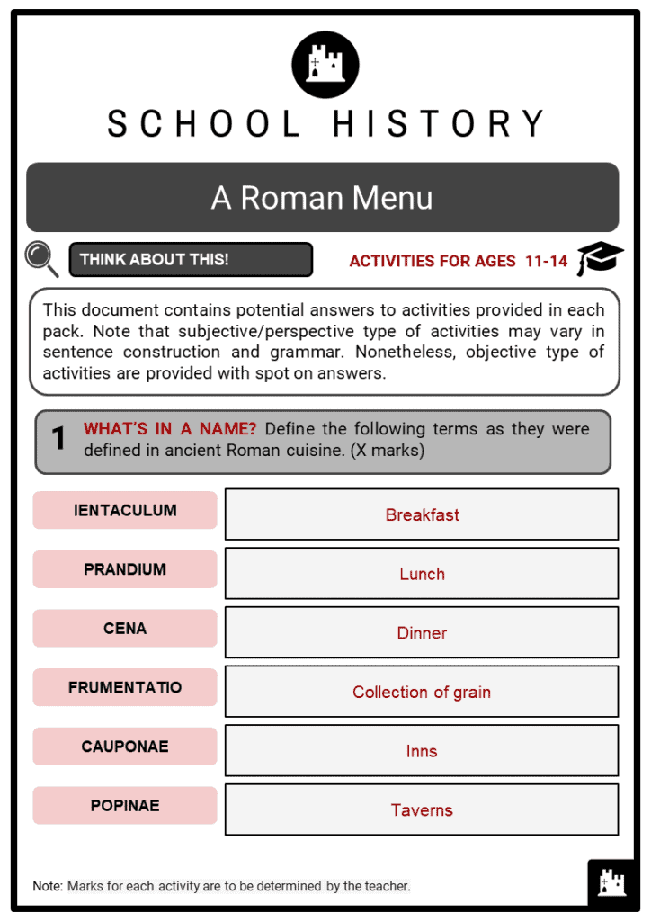 A Roman Menu Student Activities & Answer Guide 2