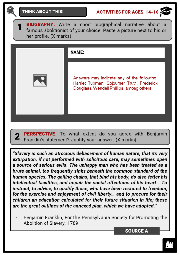 Abolitionist Movement Student Activities & Answer Guide 4