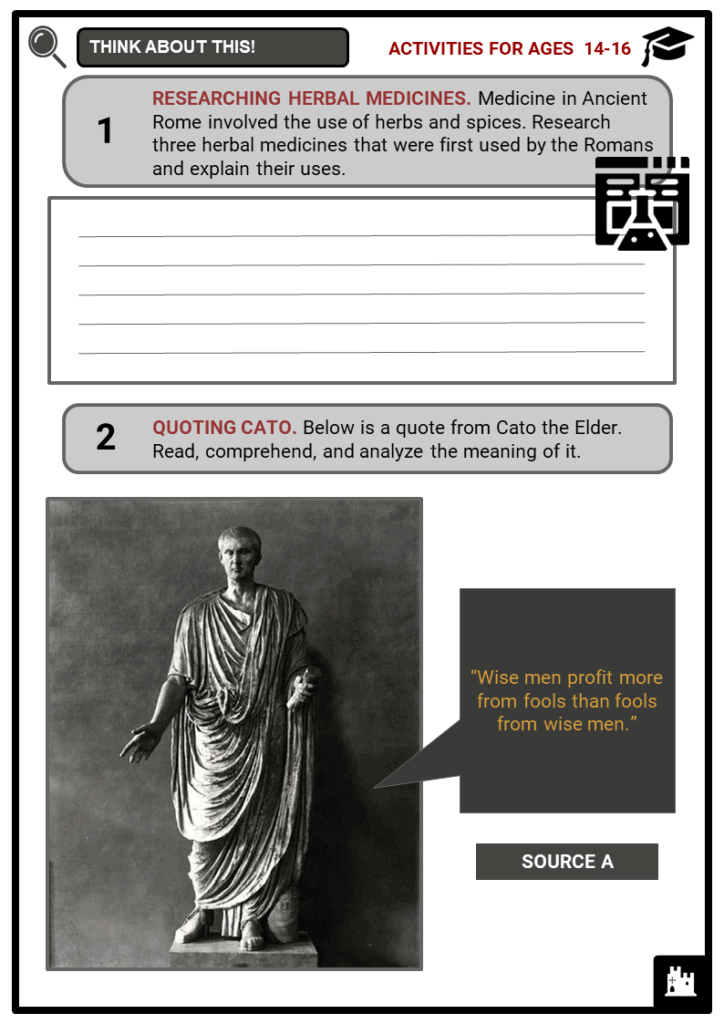 Ancient Roman Medicine Student Activities & Answer Guide 3