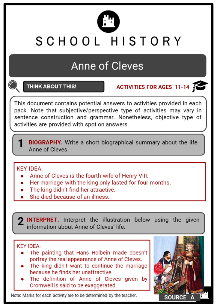 Anne of Cleves Student Activities & Answer Guide 2