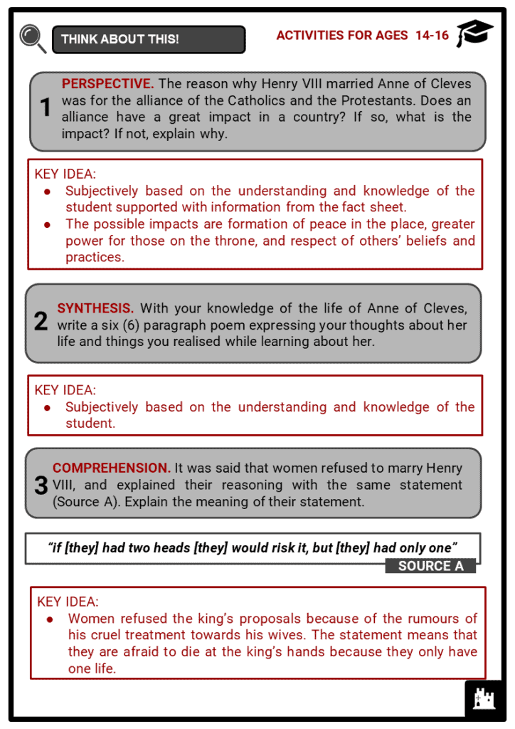 Anne of Cleves Student Activities & Answer Guide 4