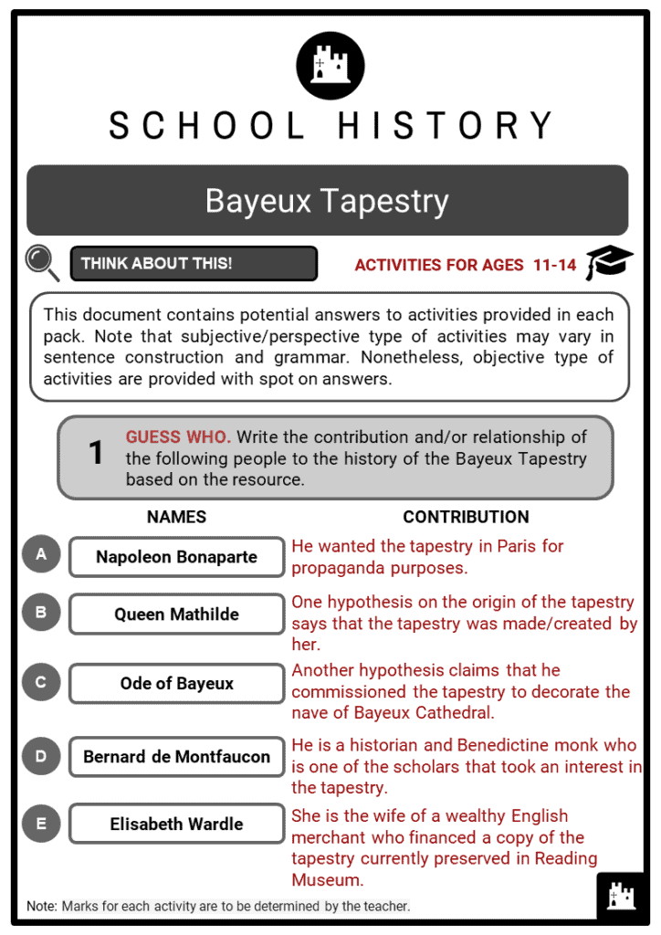Bayeux Tapestry Student Activities & Answer Guide 2