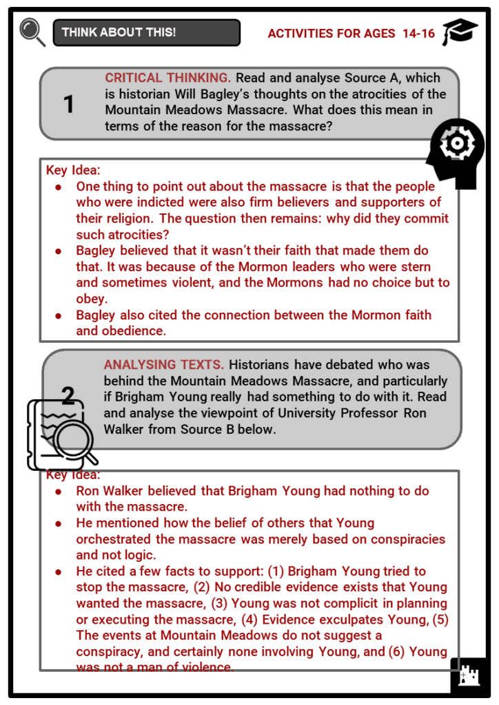 Brigham Young, Mormons and the Mountain Meadows Massacre Student Activities & Answer Guide 4