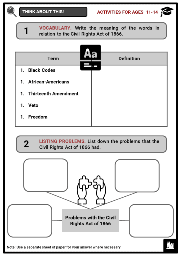 Civil Rights Act of 1866 Student Activities & Answer Guide 1